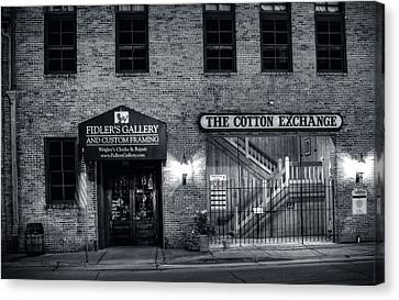 Fidlers Gallery And The Cotton Exchange In Black And White Canvas Print by Greg Mimbs
