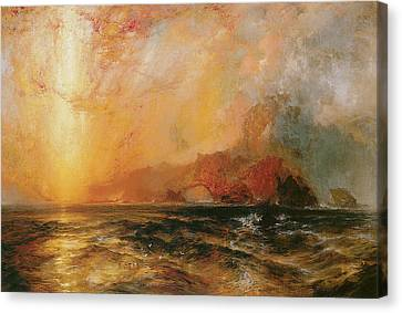 Fiercely The Red Sun Descending Burned His Way Along The Heavens Canvas Print by Thomas Moran