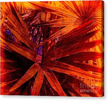Fiery Palm Canvas Print by Susanne Van Hulst