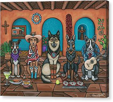 Fiesta Dogs Canvas Print by Victoria De Almeida
