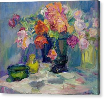 Fiesta Of Flowers - Vibrant Original Impressionist Oil Painting Canvas Print by Quin Sweetman