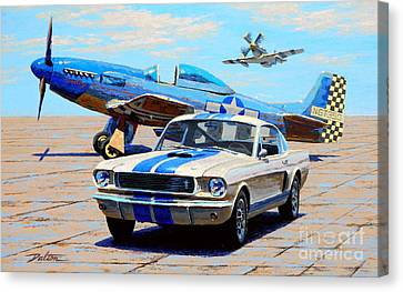 Fighter And Shelby Mustangs Canvas Print by Frank Dalton