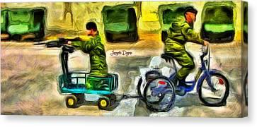 Fighters At War - Da Canvas Print by Leonardo Digenio