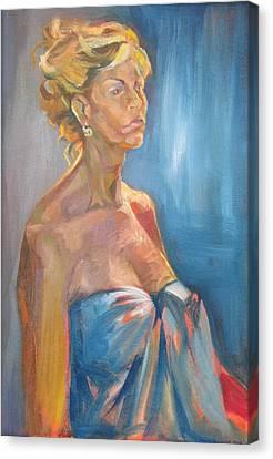 Figure In Blue Canvas Print by Julie Orsini Shakher