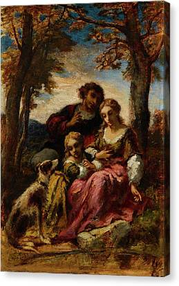 Figures And A Dog In A Landscape Canvas Print by Narcisse Virgile Diaz de la Peria