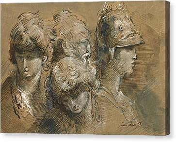 Figures Drawing Canvas Print by Juan Bosco