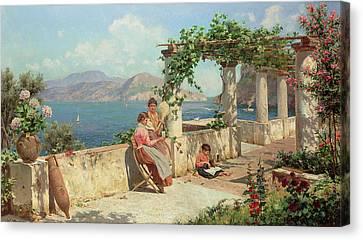 Figures On A Terrace In Capri  Canvas Print by Robert Alott