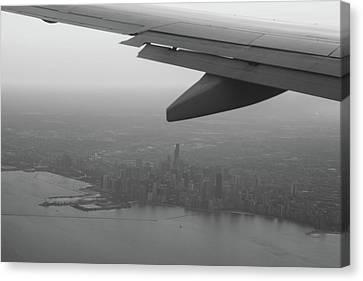 Final Approach Chicago B W Canvas Print by Steve Gadomski
