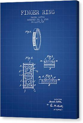 Finger Ring Patent From 1928 - Blueprint Canvas Print by Aged Pixel