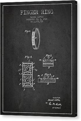 Finger Ring Patent From 1928 - Charcoal Canvas Print by Aged Pixel