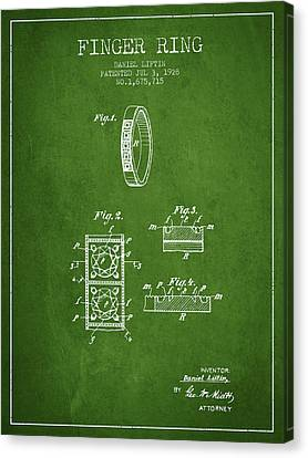 Finger Ring Patent From 1928 - Green Canvas Print by Aged Pixel