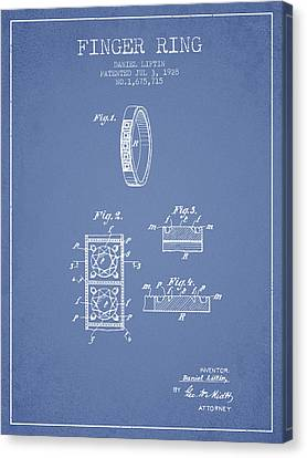 Finger Ring Patent From 1928 - Light Blue Canvas Print by Aged Pixel