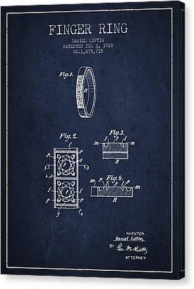 Finger Ring Patent From 1928 - Navy Blue Canvas Print by Aged Pixel