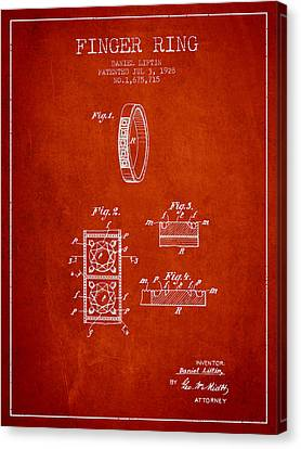 Finger Ring Patent From 1928 - Red Canvas Print by Aged Pixel