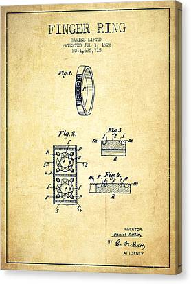 Finger Ring Patent From 1928 - Vintage Canvas Print by Aged Pixel
