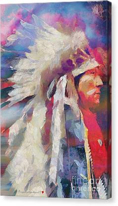 Finished Indian Feathers Painting Canvas Print by Catherine Lott