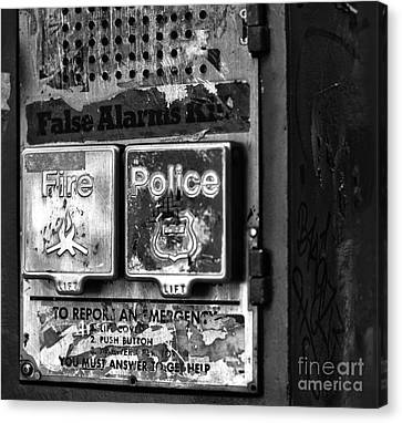 Fire And Police Pull Box Mono Canvas Print by John Rizzuto