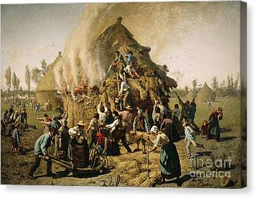 Fire In A Haystack, 1856 Canvas Print by Jules Breton