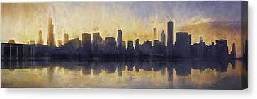 Fire In The Sky Chicago At Sunset Canvas Print by Scott Norris