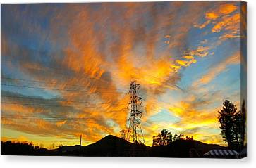 Fire In The Sky Canvas Print by Joseph Kimmel