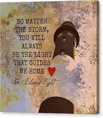 Fire Island Light House Poem 2 Canvas Print by Brandi Fitzgerald