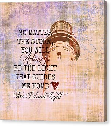 Fire Island Light House Poem 3 Canvas Print by Brandi Fitzgerald