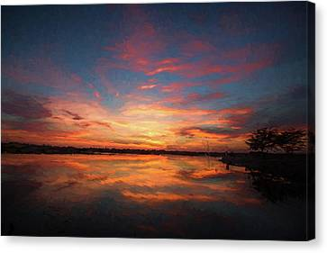 Fire On The Water Canvas Print by Scott Pellegrin