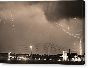 Fire Rescue Station 67  Lightning Thunderstorm Sepia Black And W Canvas Print by James BO  Insogna