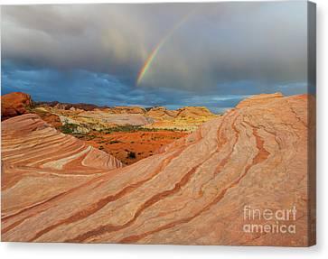 Fire Wave Rainbow Dawn Canvas Print by Mike Dawson