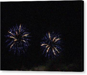 Fire Works Show Stippled Paint 1 Canada Canvas Print by Dawn Hay