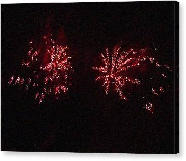 Fire Works Show Stippled Paint 6 Canada Canvas Print by Dawn Hay