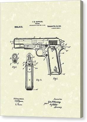 Firearm 1911 Patent Art Canvas Print by Prior Art Design