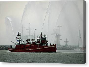 Fireboat Display Canvas Print by Brian M Lumley