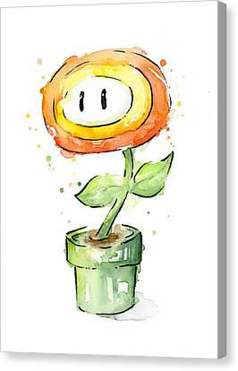 Fireflower Watercolor Painting Canvas Print by Olga Shvartsur