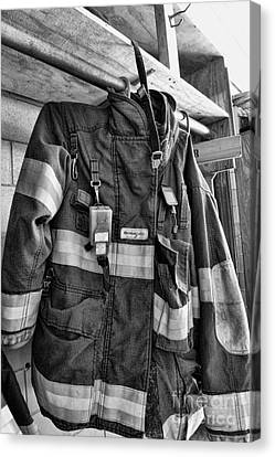 Fireman - Saftey Jacket Black And White Canvas Print by Paul Ward