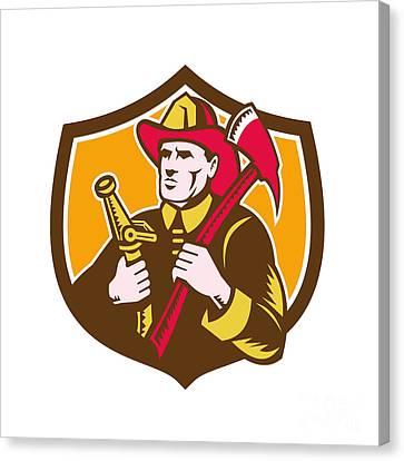 Fireman Firefighter  Axe Hose Crest Woodcut Canvas Print by Aloysius Patrimonio