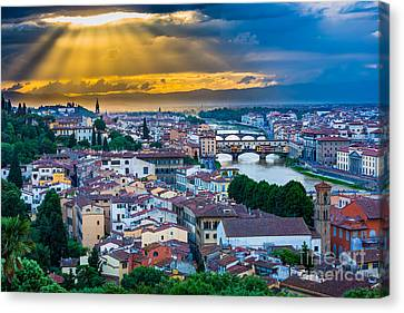 Firenze Sunset Canvas Print by Inge Johnsson