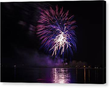 Firework Above The Ontario Lake Canvas Print by Larysa Hlebik