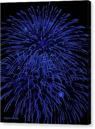 Firework Blues Canvas Print by DigiArt Diaries by Vicky B Fuller
