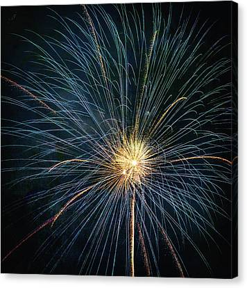 Firework Celebration Blue And Gold Square Canvas Print by Terry DeLuco