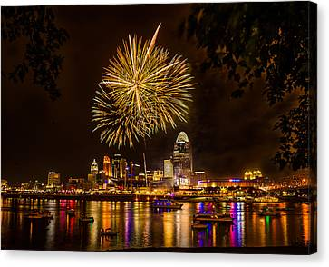 Firework On The River Canvas Print by Nelson Charette