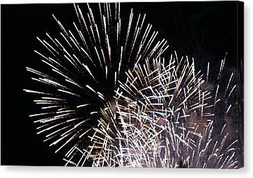 Firework Within Fireworks Canvas Print by Jacqueline Russell