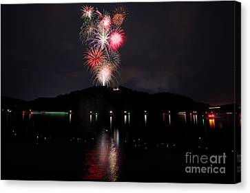 Fireworks At Cheat Lake Canvas Print by Dan Friend