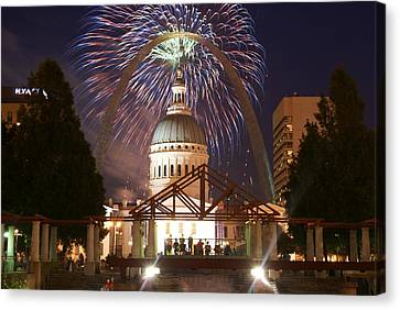 Fireworks At The Arch 1 Canvas Print by Marty Koch