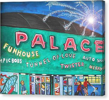 Fireworks At The Palace Canvas Print by Patricia Arroyo