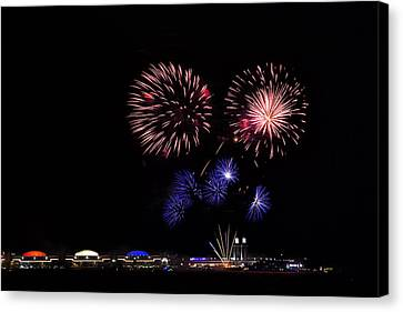Fireworks Bursts Over Chicago Canvas Print by Andrew Soundarajan