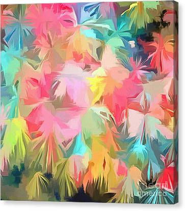 Fireworks Floral Abstract Square Canvas Print by Edward Fielding