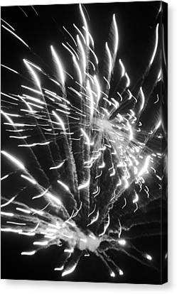 Fireworks In Black And White 2 Canvas Print by Kelly Hazel