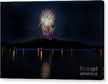 Fireworks On Cheat Lake  Canvas Print by Dan Friend
