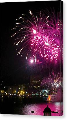 Fireworks Over Halifax Harbor Canvas Print by Crystal Loppie